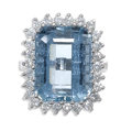 Estate Jewelry:Rings, Aquamarine, Diamond, White Gold Ring, H. Stern. The ring centers a rectangular-step-cut aquamarine measuring 16.40 x 12.60...