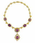 Estate Jewelry:Necklaces, Amethyst, Diamond, Gold Necklace. The necklace features oval-shaped amethysts ranging in size from 11.50 x 9.00 mm to 13.5...