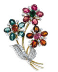 Estate Jewelry:Brooches - Pins, Multi-Stone, Diamond, Platinum, Gold Brooch. The brooch, designed as a floral bouquet, features oval-shaped citrine, pink ...
