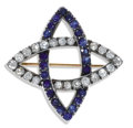 Estate Jewelry:Brooches - Pins, Victorian Diamond, Sapphire, Silver-Topped Gold Brooch. The infinity brooch features European and Old Mine-cut diamonds we...