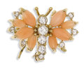 Estate Jewelry:Brooches - Pins, Diamond, Coral, Gold Brooch. The brooch, designed as a bee,features full-cut diamonds weighing a total of approximately 0...