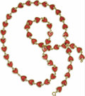 Estate Jewelry:Necklaces, Enamel, Gold Necklace. The 18k yellow gold necklace is comprised ofheart-shaped links, the center of each featuring red p...