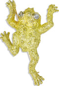 Estate Jewelry:Brooches - Pins, Diamond, Gold Brooch. The brooch, designed as a frog, features full-cut diamonds weighing a total of approximately 0.15 ca...