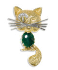 Estate Jewelry:Brooches - Pins, Diamond, Jadeite, Cats-Eye Chrysoberyl, Gold Brooch. The brooch, designed as a cat, features an oval-shaped jade cabochon ...