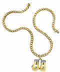 Estate Jewelry:Necklaces, Diamond, Gold Pendant-Necklace. The custom made, heavyweight curblink neck chain, complete with full-cut diamond accents,...