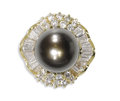 Estate Jewelry:Rings, South Sea Cultured Pearl, Diamond Ring. The ring centers a black South Sea cultured pearl measuring 10.00 - 10.50 mm, fram...