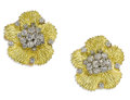 Estate Jewelry:Earrings, Diamond, Gold Earrings. Each flower blossom features full-cutdiamonds, set in heavily textured 18k yellow gold. Total dia...