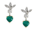 Estate Jewelry:Earrings, Emerald, Diamond Earrings. Each drop style earring features fulland single-cut diamonds, supporting a heart-shaped emeral...