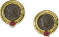 Estate Jewelry:Earrings, Ancient Coin, Ruby, Gold Earrings. Each earring features a aConstantine issue bronze coin, accented by an oval-shaped rub...