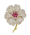 Estate Jewelry:Brooches - Pins, Diamond, Ruby, Gold Brooch. The flower brooch features pave set single-cut diamonds weighing a total of approximately 8.00...