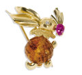 Estate Jewelry:Brooches - Pins, Citrine, Ruby, Diamond, Gold Brooch. The brooch, designed as a bunny, gazes out of a full-cut diamond eye, while holding a...