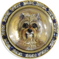 Estate Jewelry:Brooches - Pins, Carved Intaglio, Diamond, Sapphire, Gold Brooch. The broochfeatures a carved reverse painted intaglio, depicting a Yorksh...