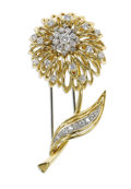 Estate Jewelry:Brooches - Pins, Retro Diamond, Platinum, Gold Clip-Brooch, Van Cleef & Arpels. The brooch, designed as a flower, features full and single-...