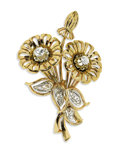 Estate Jewelry:Brooches - Pins, Retro Diamond, Gold Brooch. The brooch, designed as a stylized bouquet of flowers, features European and rose-cut diamonds...