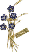 Estate Jewelry:Brooches - Pins, Sapphire, Diamond, Gold Clip-Brooch, Van Cleef & Arpels. Thebrooch, designed as a bouquet of spinning flowers, features r...