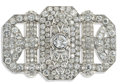 Estate Jewelry:Brooches - Pins, Art Deco Diamond, Platinum Brooch. The brooch centers oneEuropean-cut diamond weighing approximately 1.00 carat, enhanced...