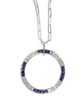 Estate Jewelry:Necklaces, Diamond, Sapphire, White Gold Pendant-Necklace. The circle pendantfeatures full-cut diamonds weighing a total of approxim...