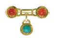 Estate Jewelry:Brooches - Pins, Jadeite, Carnelian, Gold Brooch. The bar brooch terminals featurebullet-shaped carnelian measuring 10.00 x 6.70 mm, bezel...
