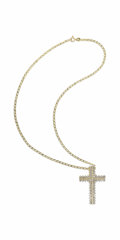 Estate Jewelry:Necklaces, Diamond, Gold Pendant-Necklace. The cross pendant features full-cutdiamonds weighing a total of approximately 4.00 carats...