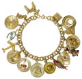 Estate Jewelry:Bracelets, Multi-Stone, Polychrome Enamel, Gold, Silver Charm Bracelet. The14k yellow gold charm bracelet suspends fifteen 14k gold ...