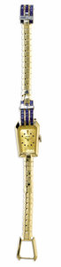 Estate Jewelry:Other , Swiss, Lady's Sapphire, Diamond, Gold Integral Bracelet Wristwatch,Circa 1930. Case: 18 mm, 14k yellow gold (not stamped)...