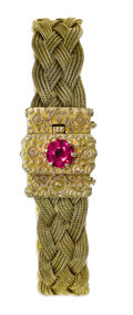 Estate Jewelry:Bracelets, Braided Gold Bracelet. The bracelet is composed of 14k yellow goldbraided wheat chains, secured by a decorative clasp, co...