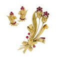 Estate Jewelry:Brooches - Pins, Retro Ruby, Gold Jewelry Suite. The floral themed suite includes anoversized brooch featuring round, and baguette-cut rub...