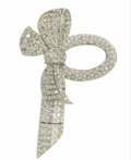 Estate Jewelry:Brooches - Pins, Diamond, Platinum Brooch. The oversized bow brooch, complete witharticulated ribbon end, features full-cut diamonds weigh...