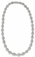 Estate Jewelry:Necklaces, Diamond, White Gold Necklace. The necklace features a series of 18kwhite gold graduated pear-shaped beads, each pave set ...