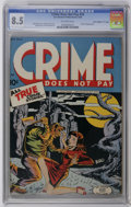"""Golden Age (1938-1955):Crime, Crime Does Not Pay #33 Davis Crippen (""""D"""" Copy) pedigree (Lev Gleason, 1944) CGC VF+ 8.5 Off-white pages. Classic hanging/ha..."""