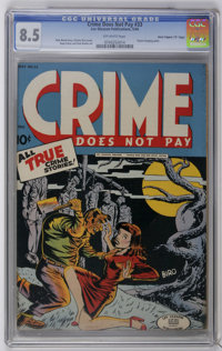 """Crime Does Not Pay #33 Davis Crippen (""""D"""" Copy) pedigree (Lev Gleason, 1944) CGC VF+ 8.5 Off-white pages. Clas..."""
