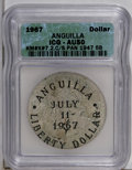 Anguilla: , Anguilla: Provisional Government Liberty Dollar 1967, KM-X7.1, hostcoin is a Panama 1947 Balboa, AU50 ICG. One of the scarcer typesi...