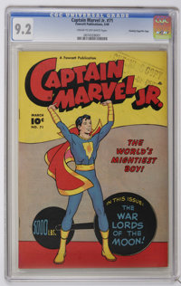 """Captain Marvel Jr. #71 Crowley Copy/File Copy (Fawcett, 1949) CGC NM- 9.2 Cream to off-white pages. Cover bears a """"..."""