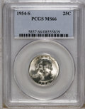 Washington Quarters: , 1954-S 25C MS66 PCGS. NGC Census: (1604/248). Mintage: 11,834,722.Numismedia Wsl. Price: $45. (#585...