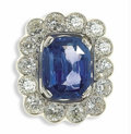 Estate Jewelry:Rings, Ceylon Sapphire, Diamond, Platinum Ring. The ring centers onecushion-shaped Ceylon sapphire measuring 12.32 x 9.70 x 6.12...