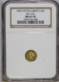 California Fractional Gold: , 1854 $1 Liberty Octagonal 1 Dollar, BG-532, Low R.4, MS61 ProoflikeNGC. A significantly abraded but unworn example of this...
