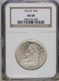 Bust Half Dollars: , 1814/3 50C AU58 NGC. O-101, R.2. A touch of highpoint frictionkeeps this still-lustrous piece from a Mint State grade. Sol...