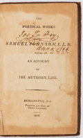Books:Literature Pre-1900, Samuel Johnson. The Poetical Works of Samuel Johnson, L. L. D.with an Account of the Author's Life. Burlington,...