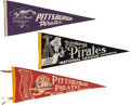 Baseball Collectibles:Others, 1950's Through 1960 Pittsburgh Pirates Pennants Lot of 3....