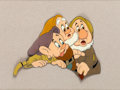 Animation Art:Production Cel, Snow White and the Seven Dwarfs Dopey, Happy, and BashfulProduction Cel (Walt Disney, 1937)....