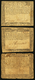 Colonial Notes:Maryland, Maryland August 14, 1776 Three Different Denominations.. ... (Total: 3 notes)