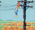 Animation Art:Production Cel, Woody Woodpecker Production Cel and Background with Walter LantzSignature (Walter Lantz, c. 1960s-70s)....