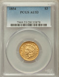 Three Dollar Gold Pieces, 1854 $3 AU53 PCGS....