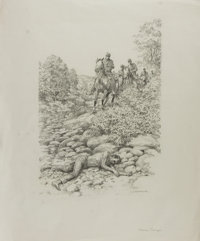 "[Original Illustration Art]. L. F. Bjorklund. ""Moseby's Revenge."" Crica 1977. Original signed pencil drawing o..."