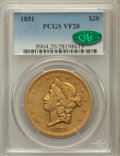 Liberty Double Eagles: , 1851 $20 VF20 PCGS. CAC. PCGS Population (0/532). NGC Census:(1/813). Mintage: 2,087,155. Numismedia Wsl. Price for proble...