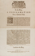 """Books:Prints & Leaves, [British Royal History]. Printed """"Proclamation for a General Fast."""" London: Bill, Newcomb, and Hills, 1680. Two folio sheets..."""