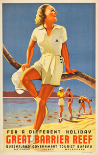 """Great Barrier Reef Travel Poster (Queensland Government Tourist Bureau, 1930s). Poster (28"""" X 39.25"""")"""
