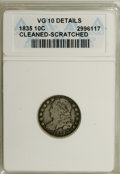 Bust Dimes: , 1835 10C --Cleaned, Scratched--ANACS. VG10 Details. NGC Census:(1/392). PCGS Population (3/339). Mintage: 1,410,000. Numis...