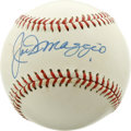 Autographs:Baseballs, Joe DiMaggio Single Singed Baseball. the legendary Hall of Famer adorned the sweet spot of the baseball in his usual bold a...