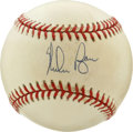 Autographs:Baseballs, Nolan Ryan Single Signed Baseball. Baseball's Strikeout King andthe author of an astounding seven no-hitters offers his Ha...